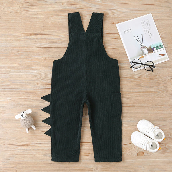 Boys Solid Color Button Loose Jumpsuit Boys Green Overalls