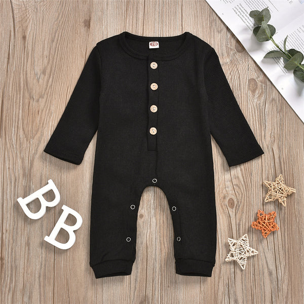 Baby Unisex Solid Color Button Romper Wholesale Baby Outfits