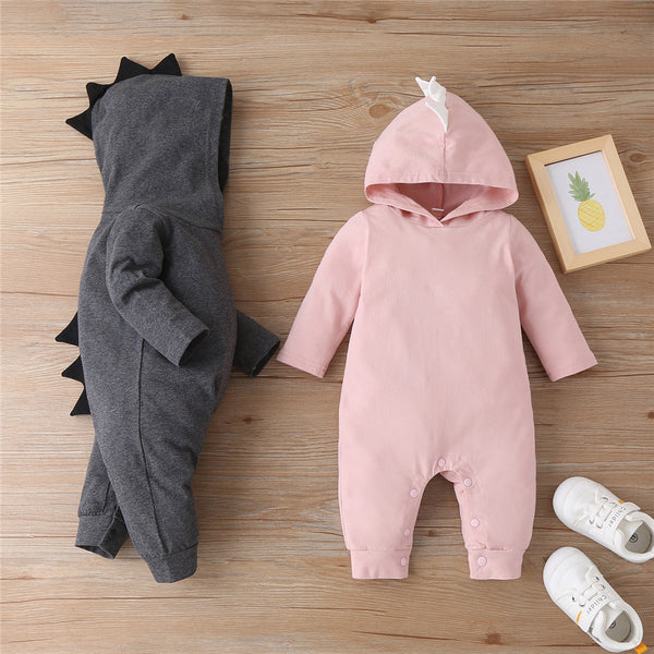 Baby Boys Solid Color Cartoon Hooded Long Sleeve Romper Baby Wholesale