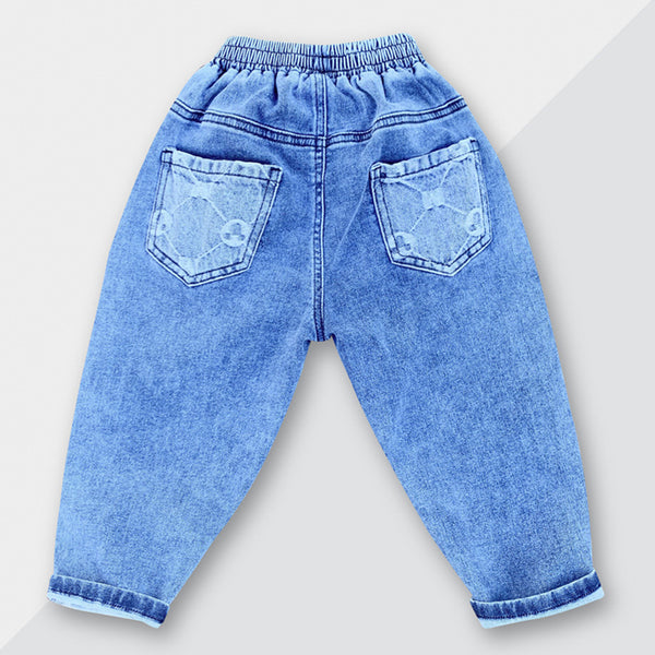 Unisex Solid Color Casual Elastic Waist Jeans bulk childrens clothing suppliers