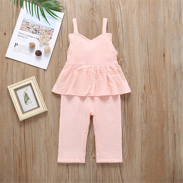 Girls Solid Color Casual Sling Jumpsuit Wholesale Baby Girl Clothes