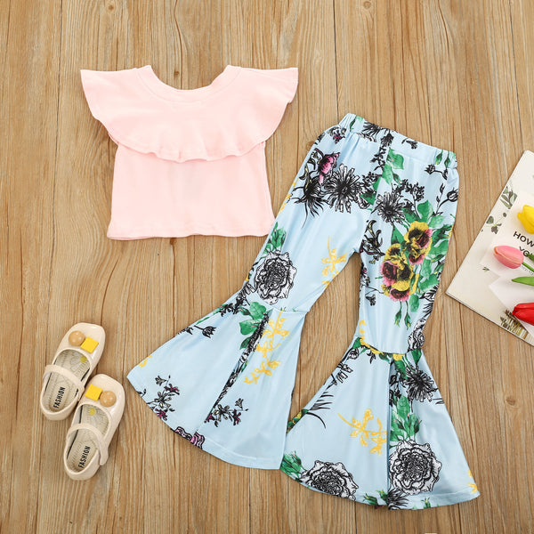 Girls Solid Color Casual Top & Bell Floral Printed Trousers Wholesale Girl Boutique Clothing