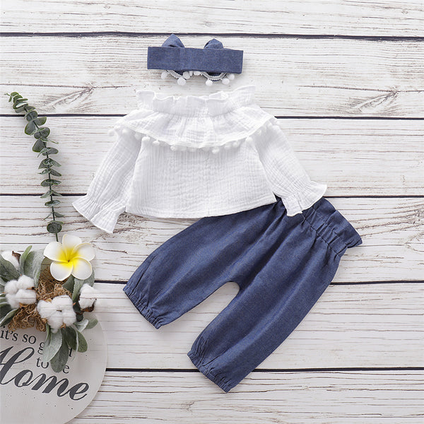 Girls Solid Color Casual Top & Trousers & Headband Girls Clothing Wholesale