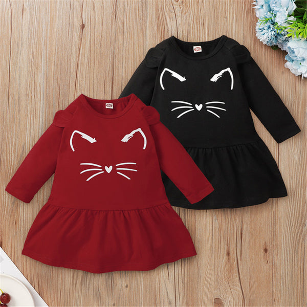 Baby Girls Solid Color Cat Face Printed Long Sleeve Cute Dress Baby Outfits