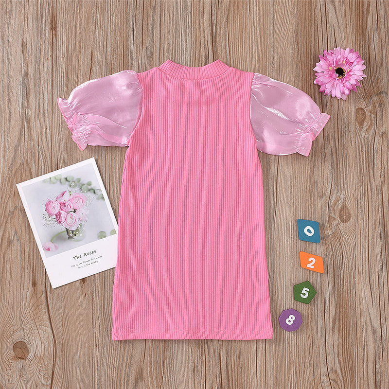 Girls Solid Color Crew Neck Casual Dress kids wholesale vendors