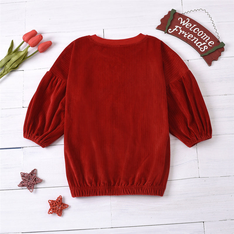 Girls Solid Color Crew Neck Long Sleeve Dress Kids Wear Wholesale