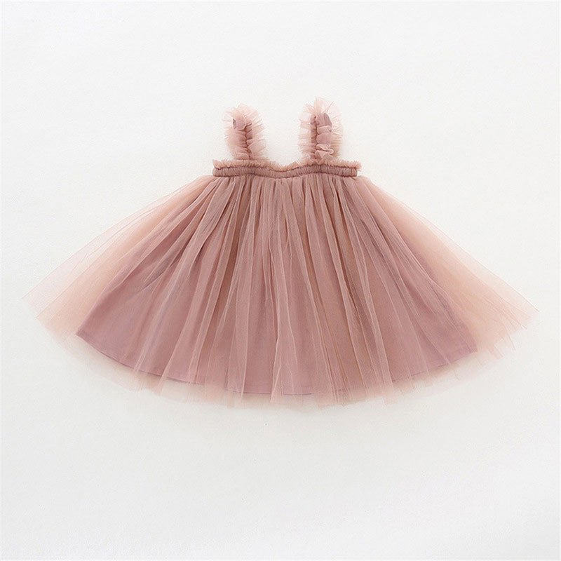 Girls Solid Color Cute Mesh Suspender Dress Girls Wholesale Dresses