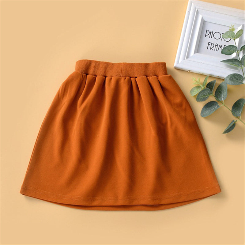 Girls Solid Color Elastic Waist Button Skirt Wholesale Girl Boutique Clothing