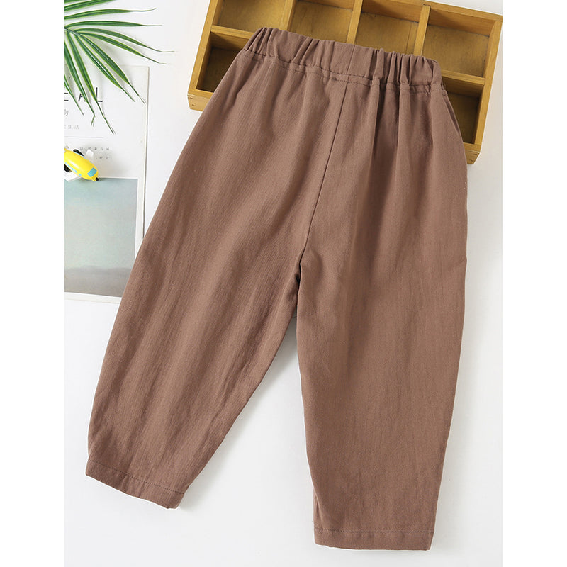 Unisex Solid Color Elastic Waist Pocket Casual Pants kids clothing vendors