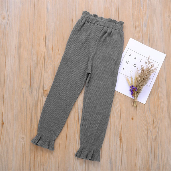 Girls Solid Color Fashion Elastic Waist Pants Cheap Childrens Clothes Wholesale