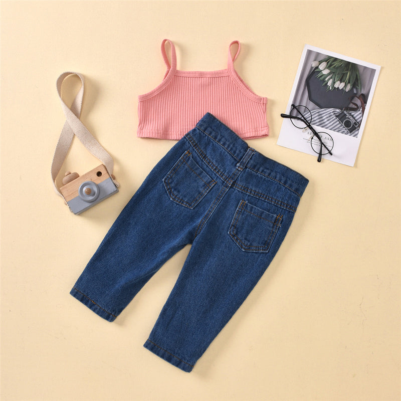 Girls Solid Color Fashion Tank Top & Ripped Jeans Girls Clothes Wholesale