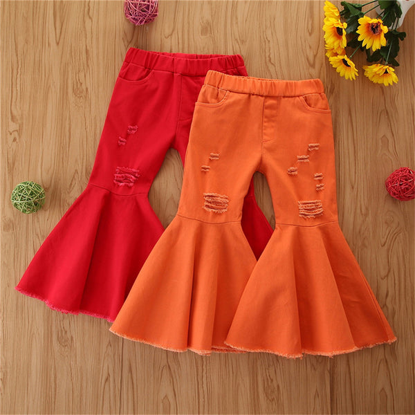 Girls Solid Color Flared  Ripped Elastic Waist Jeans Girls Clothing Wholesale