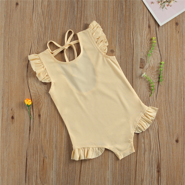 Girls Solid Color Flutter Sleeve Swimwear Toddler One Piece Swimsuit