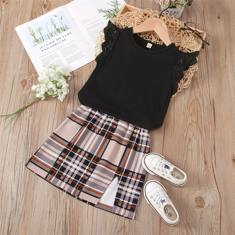 Girls Solid Color Flying Sleeve Pullover Top & Plaid Skirt Bulk Childrens Clothing Suppliers