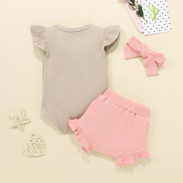 Baby Girls Solid Color Flying Sleeve Romper & Shorts & Headband Wholesale Baby Clothes In Bulk