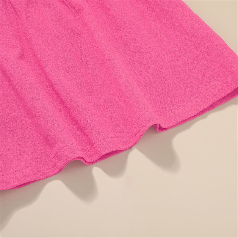 Girls Solid Color Flying Sleeve Top & Shorts kids wholesale clothing