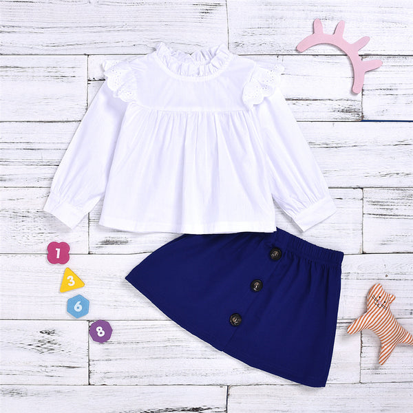 Girls Solid Color Fungus Blouse & Skirt Wholesale Baby Girl Clothes