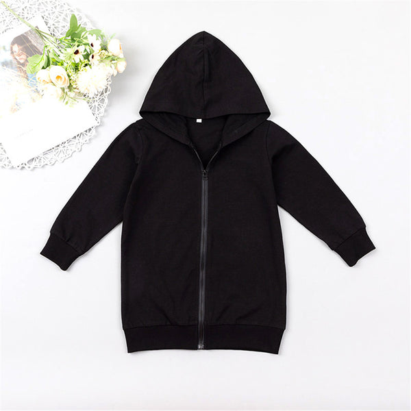 Unisex Solid Color Hooded Long Sleeve Zipper Jacket Wholesale Childrens Clothing