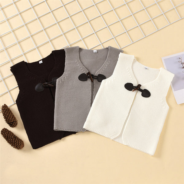 Baby Unisex Solid Color Horn Button Sweater Vest Wholesale Baby Store