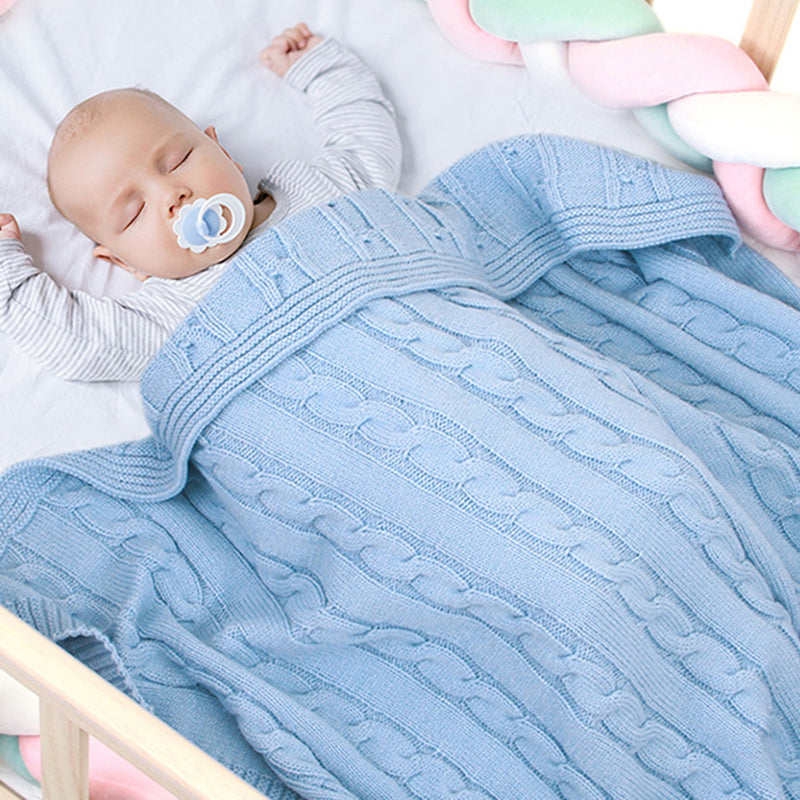 Solid Color Knitted Casual Newborn Baby Blankets