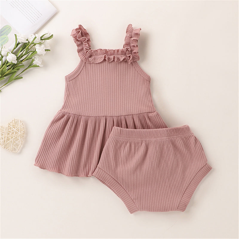 Baby Girls Solid Color Knitted Sweet Tank Top & Shorts Wholesale Baby Outfits