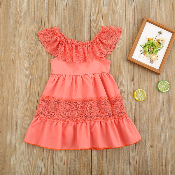 Girls Solid Color Lace Collar Sleeveless Splicing Dress wholesale children's boutique clothing suppliers usa