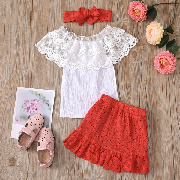 Girls Solid Color Lace Collar Top & Skirt & Headband Wholesale Boutique Kid Clothing