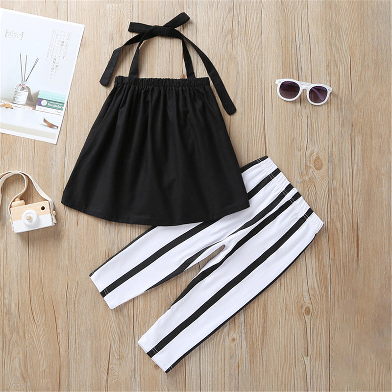 Girls Solid Color Lace Up Sling Top & Striped Pants Girls Clothes Wholesale