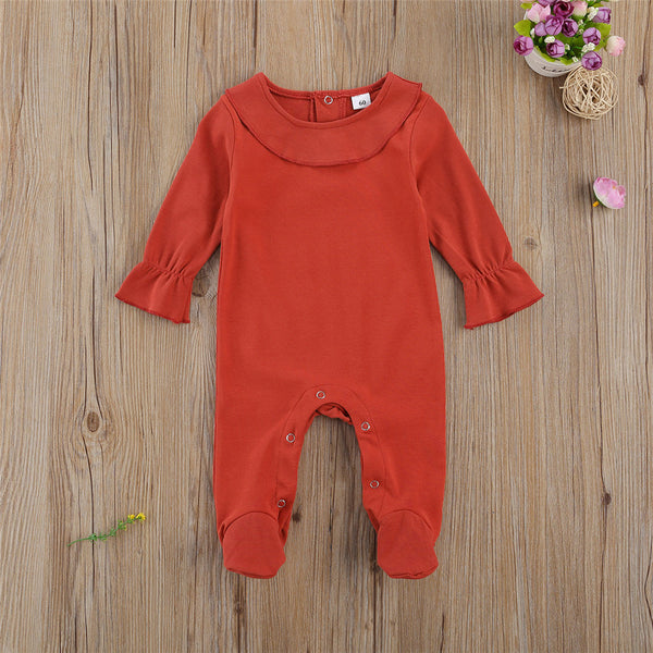 Baby Solid Color Long-Sleeve Romper Wholesale Newborn Clothes