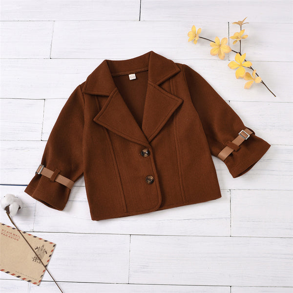 Girls Solid Color Long Sleeve Button Cardigan Coat Girls Clothing Wholesale