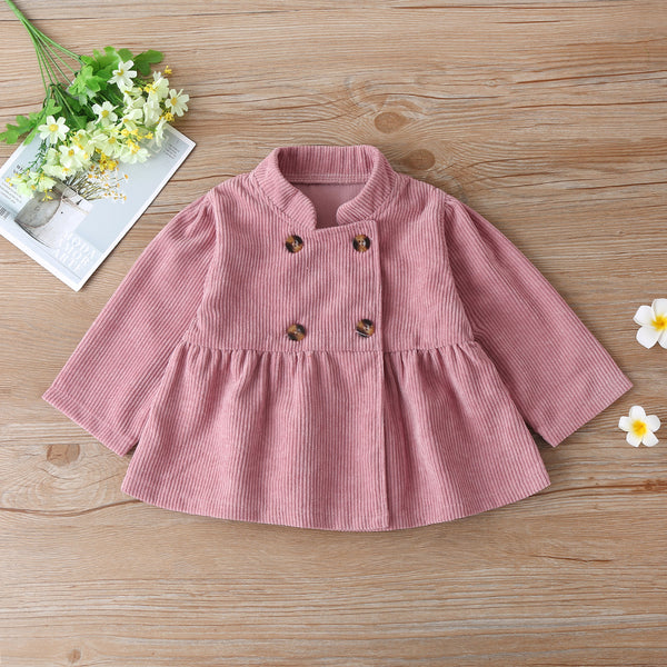 Baby Girls Solid Color Long Sleeve Button Outwear Baby Clothes Warehouse