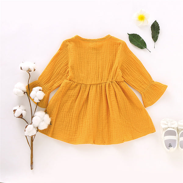 Girls Solid Color Long Sleeve Cotton Button Dress Girls Clothing Wholesalers