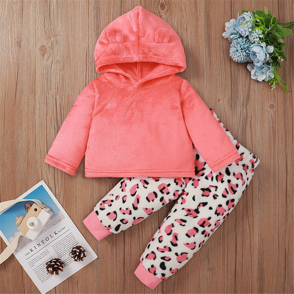 Baby Girls Solid Color Long Sleeve Hooded Top & Leopard Pants Baby Clothes Wholesale Suppliers