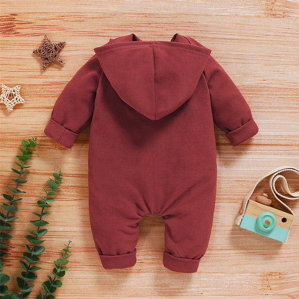 Baby Solid Color Long Sleeve Hooded Zipper Romper Wholesale Baby Clothes Suppliers