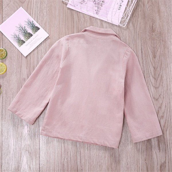 Girls Solid Color Long Sleeve Pocket Casual Jacket Girls Boutique Clothes Wholesale