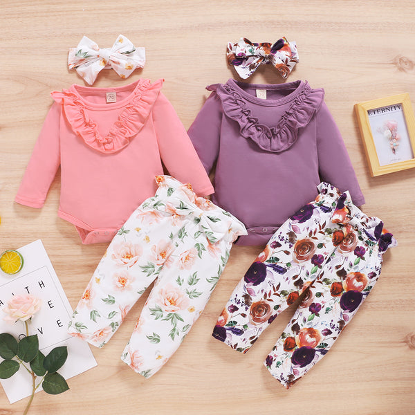 Baby Girls Solid Color Long Sleeve Romper & Floral Pants & Headband Baby Clothes Suppliers