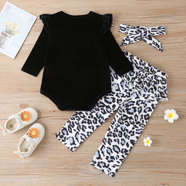 Baby Girls Solid Color Long Sleeve Romper & Leopard Pants & Headband baby clothes wholesale distributors
