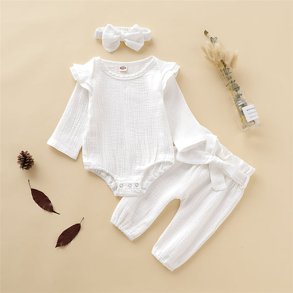 Baby Girl Solid Color Long Sleeve Romper & Pants & Headband Buy Baby Clothes In Bulk