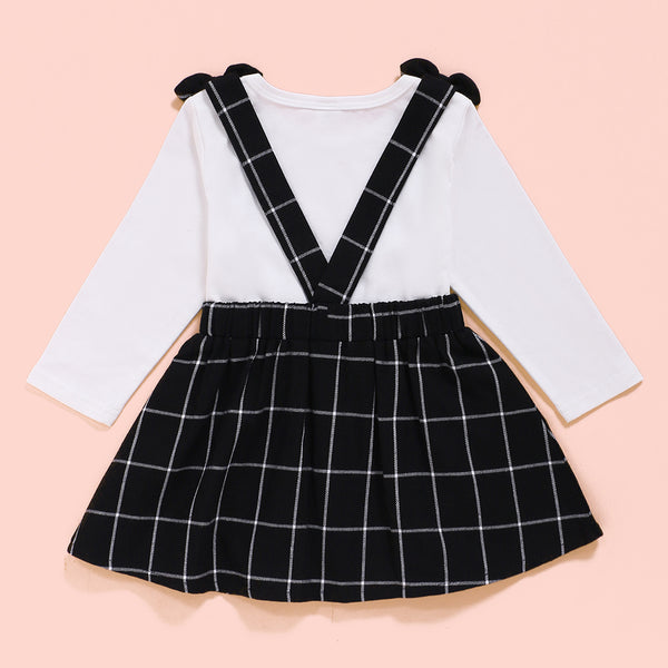 Baby Girls Solid Color Long Sleeve Romper & Plaid Suspender Skirt Wholesale Baby Outfits