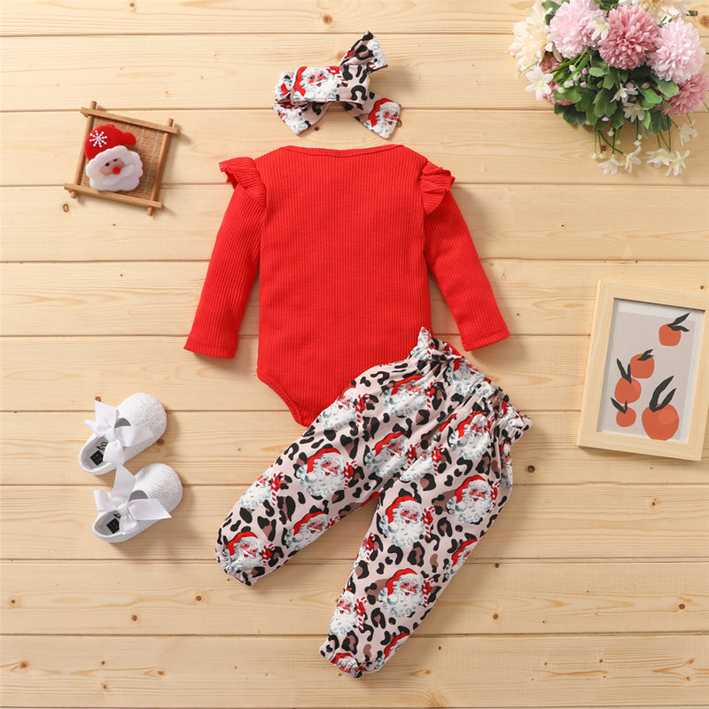 Baby Girls Solid Color Long Sleeve Romper & Santa Claus Printed Pants & Headband Baby Wholesales