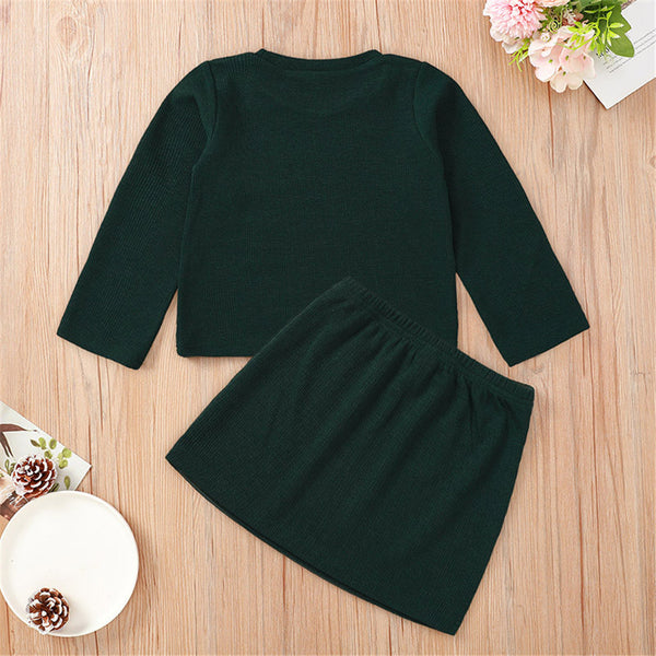 Girls Solid Color Long Sleeve T-shirt & Skirt Wholesale Girl Clothing