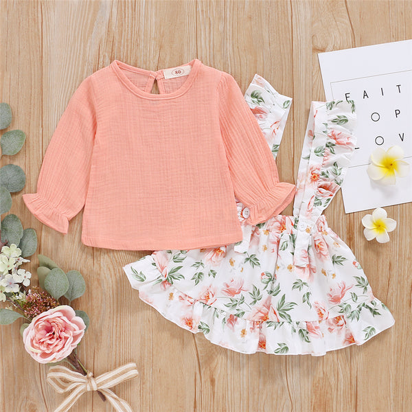 Girls Solid Color Long Sleeve Top & Floral Printed Suspender Skirt Wholesale Girl Clothing