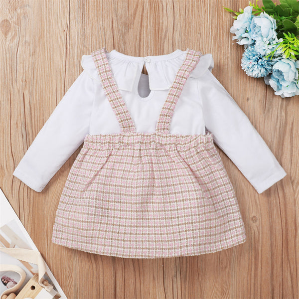 Baby Girls Solid Color Long Sleeve Top & Plaid Printed Dress Baby Clothes Warehouse
