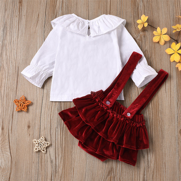 Baby Girls Solid Color Long Sleeve Top & Suspender Skirt & Headband Baby Clothing Wholesale Distributors