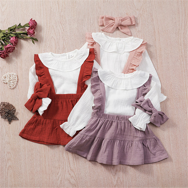 Girls Solid Color Long Sleeve Top & Suspender Skirt & Headband Baby Girl Wholesale