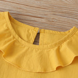 Girls Solid Color Lotus Leaf Collar Long Sleeve Top & Bell Trousers wholesale toddler clothing