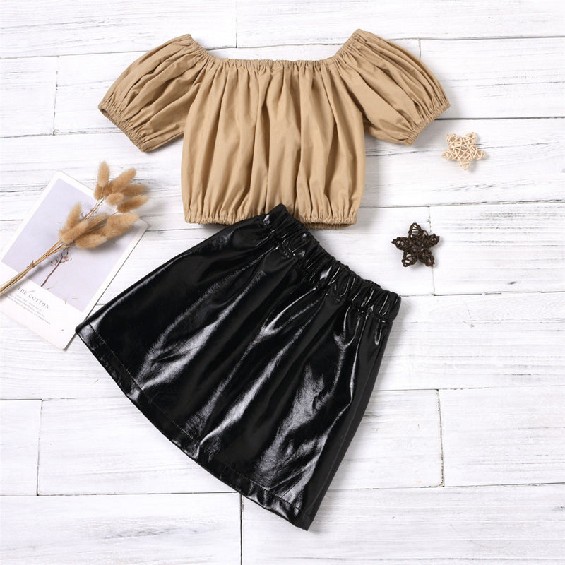 Girls Solid Color Off Shoulder Tops & PU Skirts Girls Boutique Clothes Wholesale
