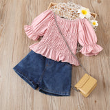 Girls Solid Color Pleated Pullover Top & Denim Shorts Toddler Clothing Wholesale