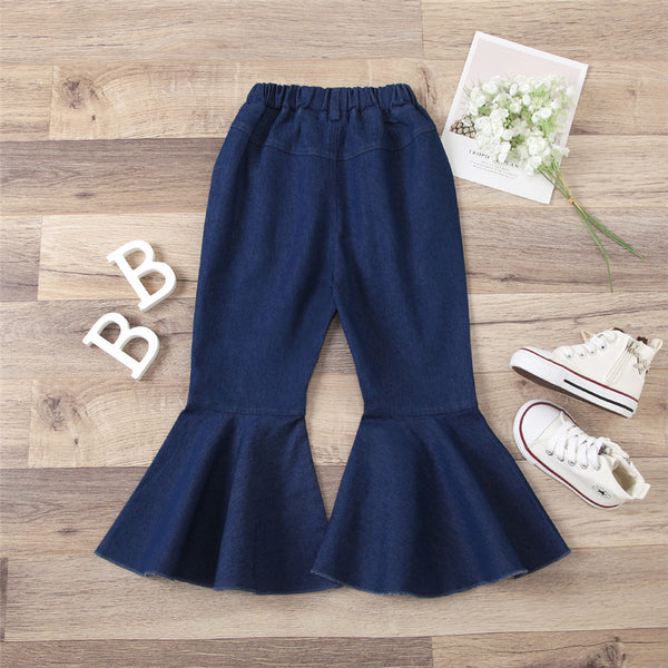 Girls Solid Color Pocket Bell Jeans Bulk Childrens Clothing Suppliers
