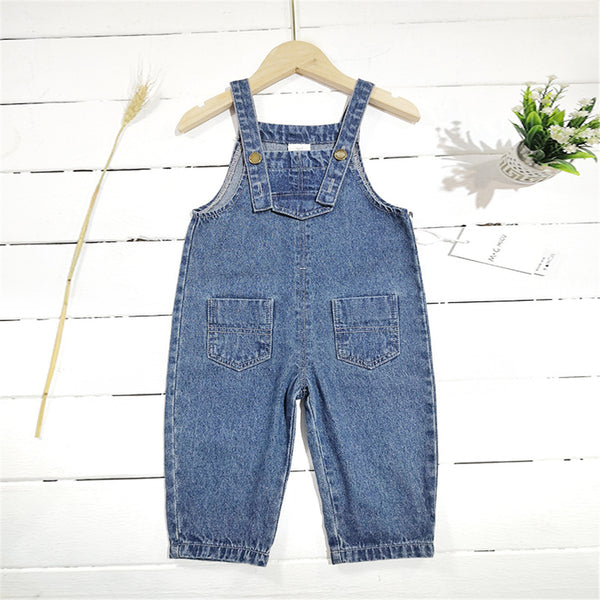 Girls Solid Color Pocket Denim Overalls Girl Loose Pants Wholesale